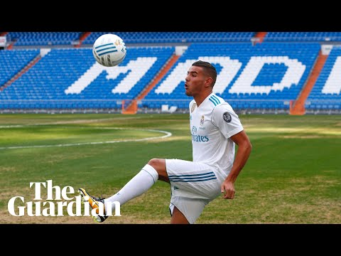Theo Hernández's kick-ups go awry at Real Madrid presentation –video