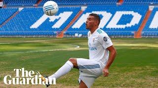 Theo Hernández's kick-ups go awry at Real Madrid presentation –video thumbnail
