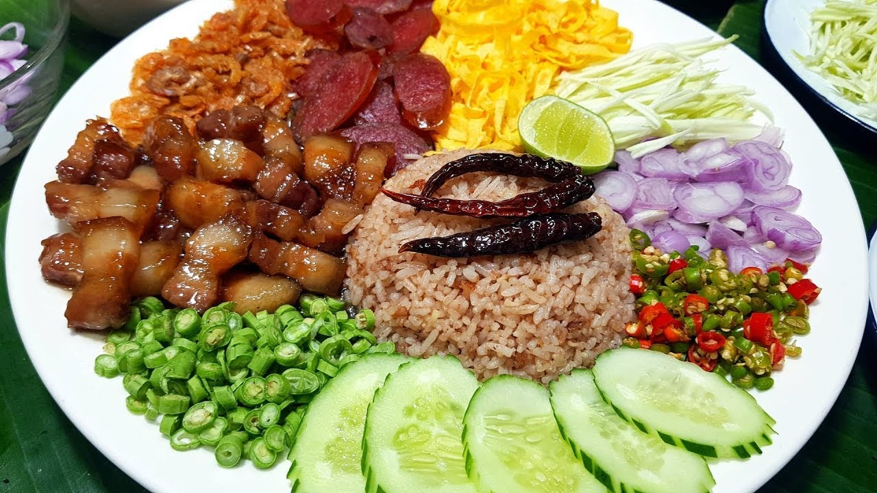 กับข้าวกับปลาโอ 604 : ข้าวคลุกกะปิ เครื่องแน่นมาก  Rice Seasoned with Shrimp Paste Recipe