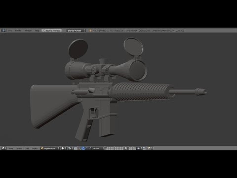 Marine Scout Sniper Rifle modeling in Blender ;  Final Part ; Request
