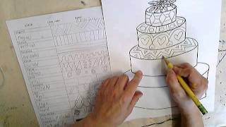 Wedding Cake Lines and Shapes Combination Drawing