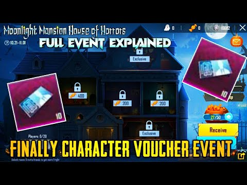 FINALLY, CHARACTER VOUCHER EVENT IS HERE | MOONLIGHT MANSION HOUSE OF HORROR EVENT EXPLAINED PUBG
