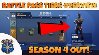 ► SEASON 4 - BATTLE PASS TIERS OVERVIEW - *SPRAYS & CUSTOM SKINS* | Fortnite Battle Royale