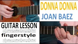 DONNA DONNA - JOAN BAEZ - fingerstyle GUITARLESSON