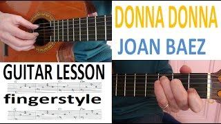 DONNA DONNA - JOAN BAEZ - GUITARLESSON fingerstyle