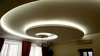 Подвесные потолки из гипсокартона фигурные с подсветкой(, 2015-08-04T13:59:27.000Z)
