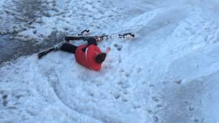 Drunk man wants to ski away after apres ski in Sankt Anton