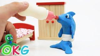 Sharks Babies Stop Motion | Kids Cartoons & Baby Videos - OKG