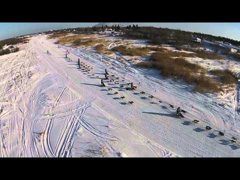 Drone Video Sled Dogs Race Mass Start Trappers Festival