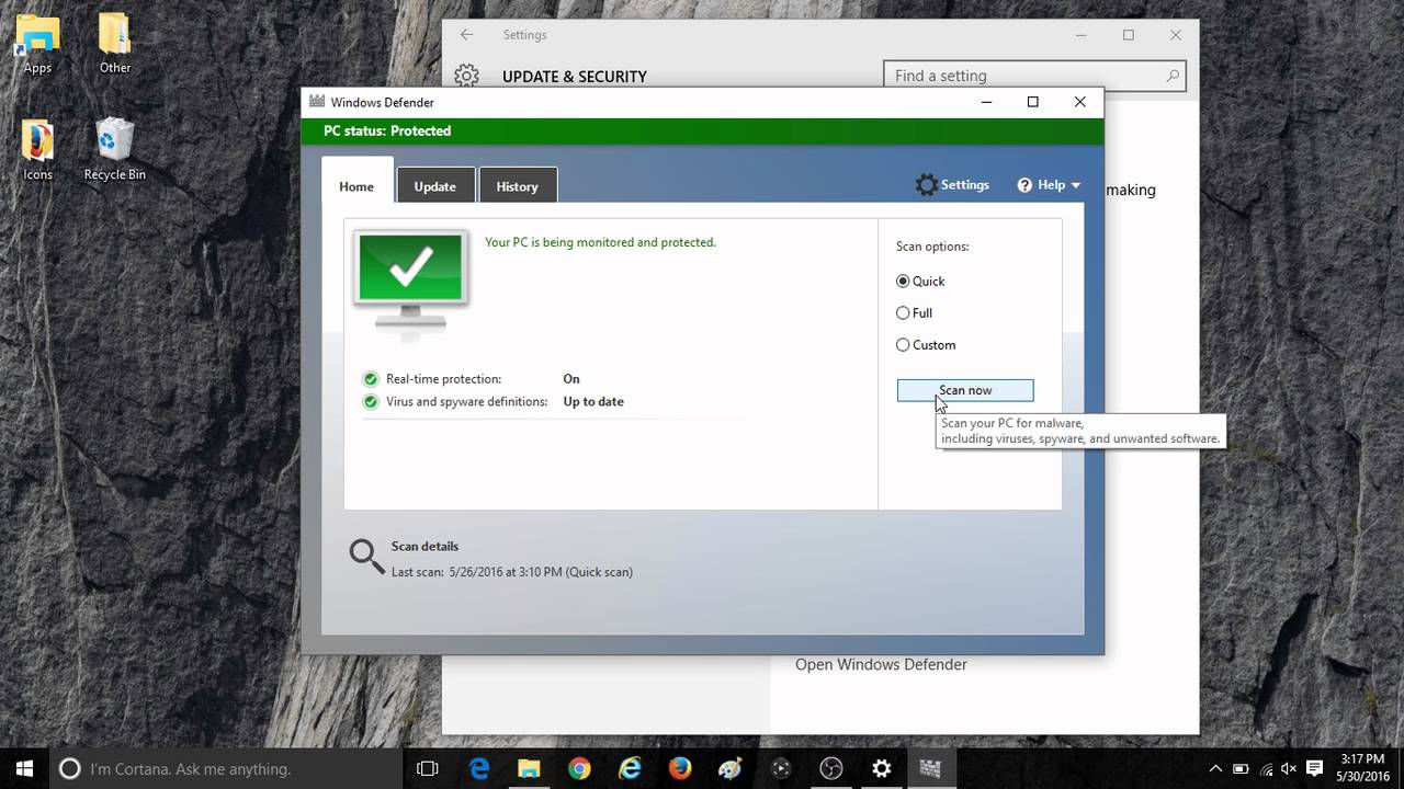 How to Start a Scan with Windows Defender in Windows 10  YouTube