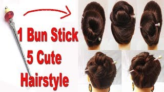 5 Very Easy Bun Hairstyles with bun stick | hair style girl | hairstyles for girls | hairstyles 2018
