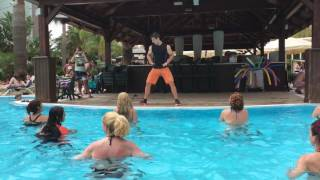 Water aerobics. Funny instructor.