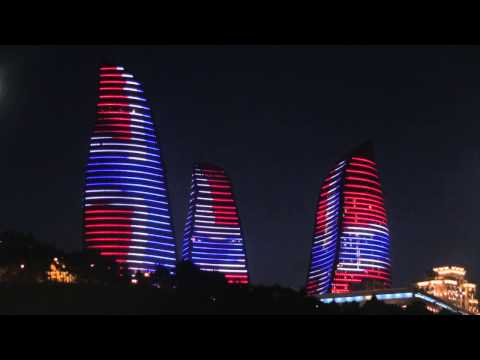 Flame Towers Baku with all Europe Flags