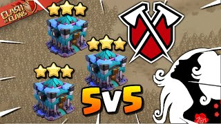 TRIBE GAMING vs QUEEN WALKERS - TH13 Attacks! 5v5 War (Clash of Clans)
