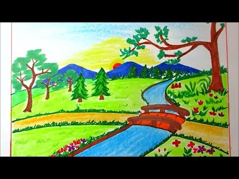 drawing-landscape-of-mountain-and-river-for-kids- -scenery-drawing-channel#81