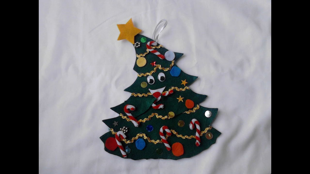 Pino adorno de navidad hecho con fieltro youtube - Manualidades con fieltro para navidad ...