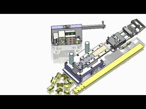 Progressive stamping tool design for a metal bracket, using SolidWorks