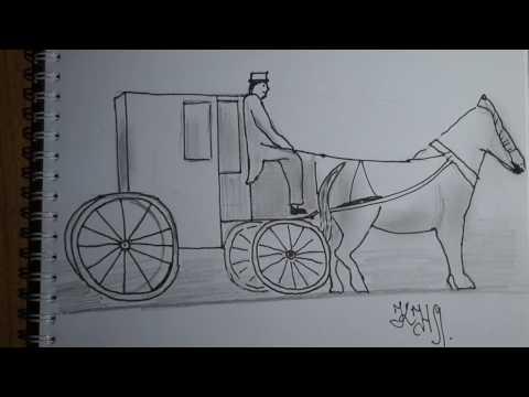 Как нарисовать карету карандашом поэтапно