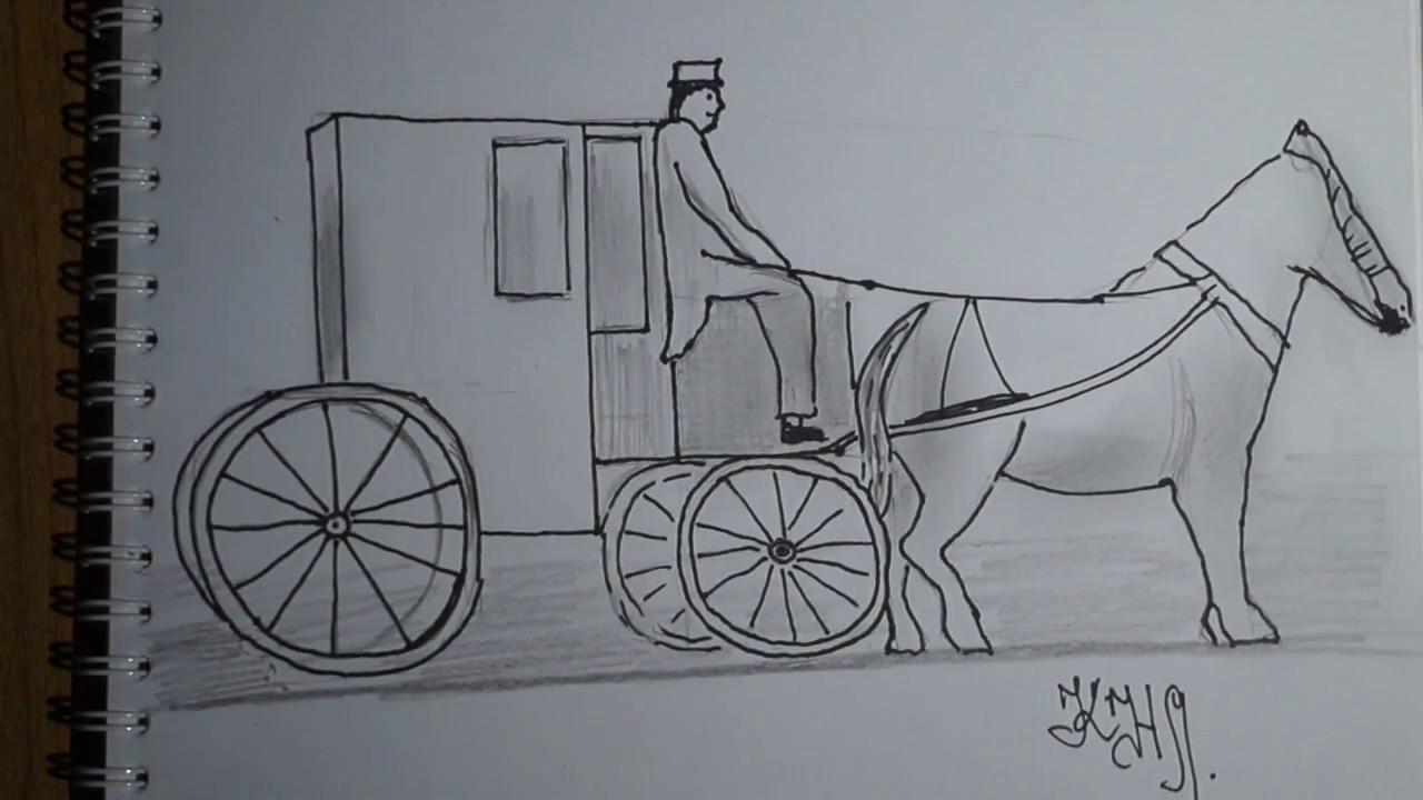 рисунок кареты с лошадьми карандашом видели