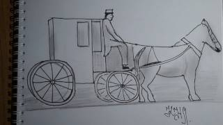 Как нарисовать карету и лошадь  поэтапно скетч - How to draw the carriage and the horse in stages