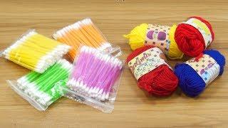 Cotton buds & woolen craft idea | DIY arts and crafts | DIY cotton buds & woolen