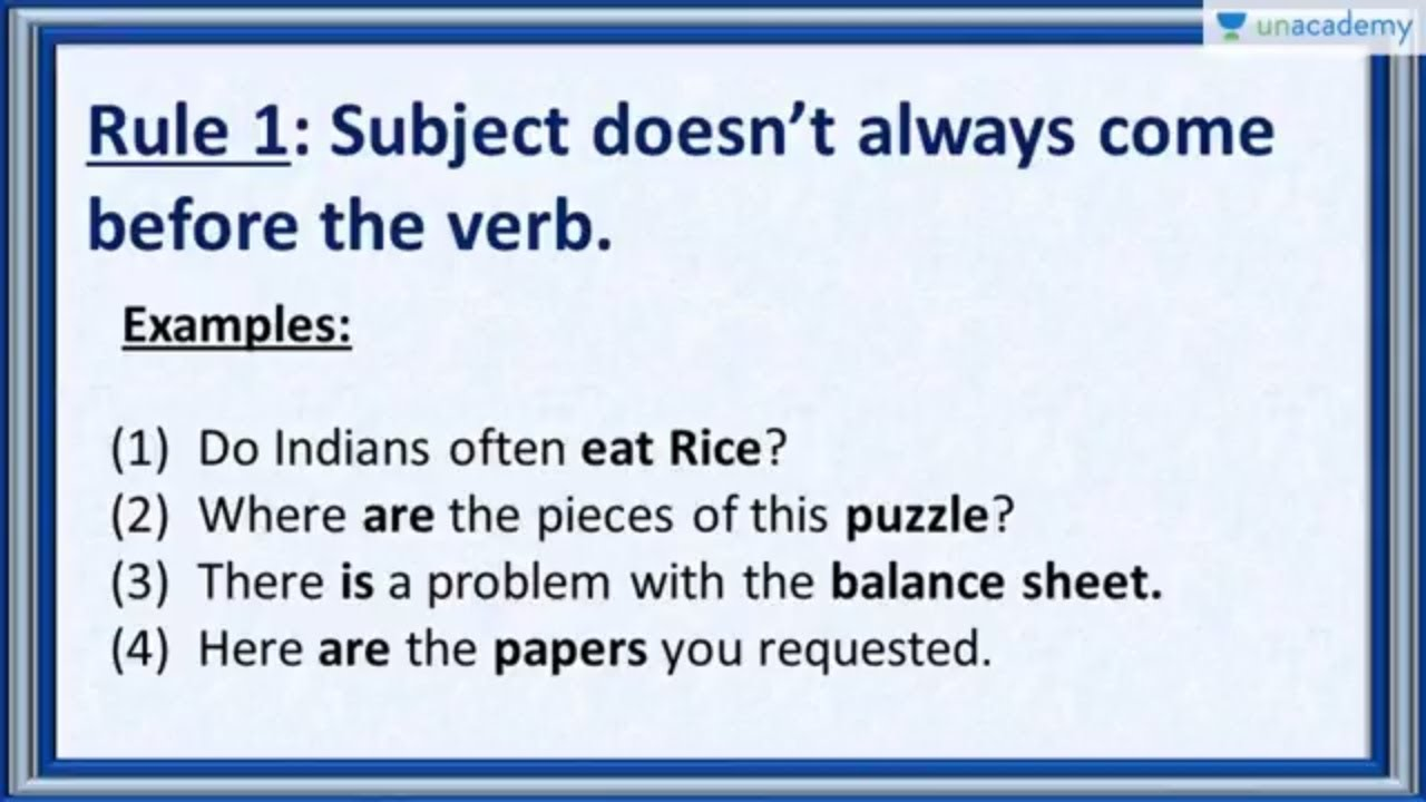Subject Verb Agreement Rule 1 Subject Doesnt Always Come Before