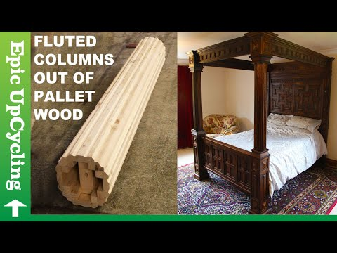 Pallet Wood Furniture. Elegant Four Poster Bed Made From Recycled Pallet Lumber.