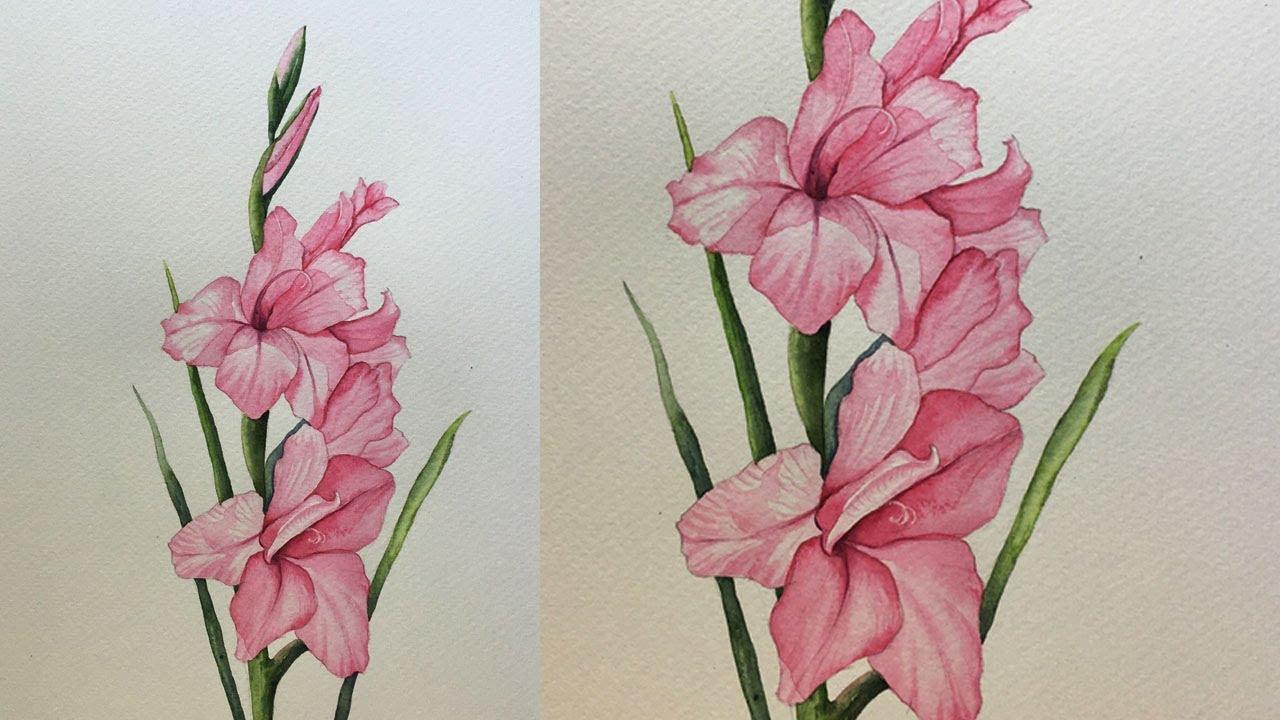 Gladiolus Flower Painting In Watercolor Flower Painting Step By Step Watercolor Youtube