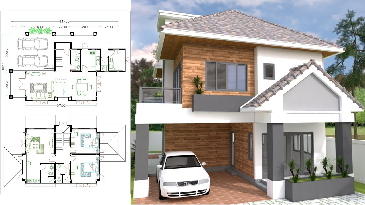 4 Bedrooms Sketchup Home Plan 85x147m With Free Autocad Layout