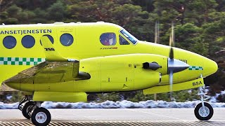 Ambulance Beech King Air 250 at Stord airport, february 2020