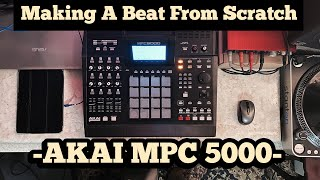 Making HipHop Instrumentals  LIVE - Akai MPC 5000 - Starting from Scratch