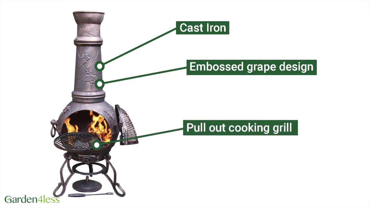 Extra Large Toledo Bronze Grape Cast Iron Chiminea With Grill Youtube