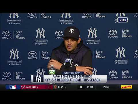 Aaron Boone on Gleyber Torres' first MLB hit, home runs and more after scoring 14 runs