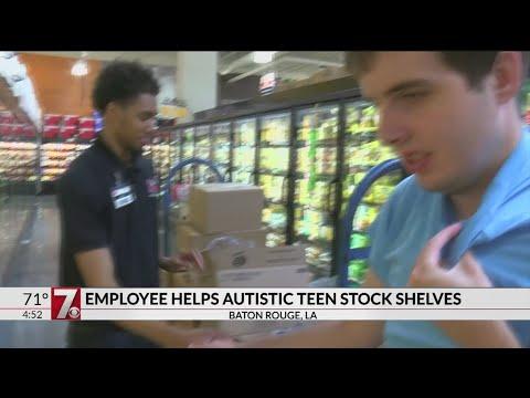 Employee helps autistic teen stock shelves