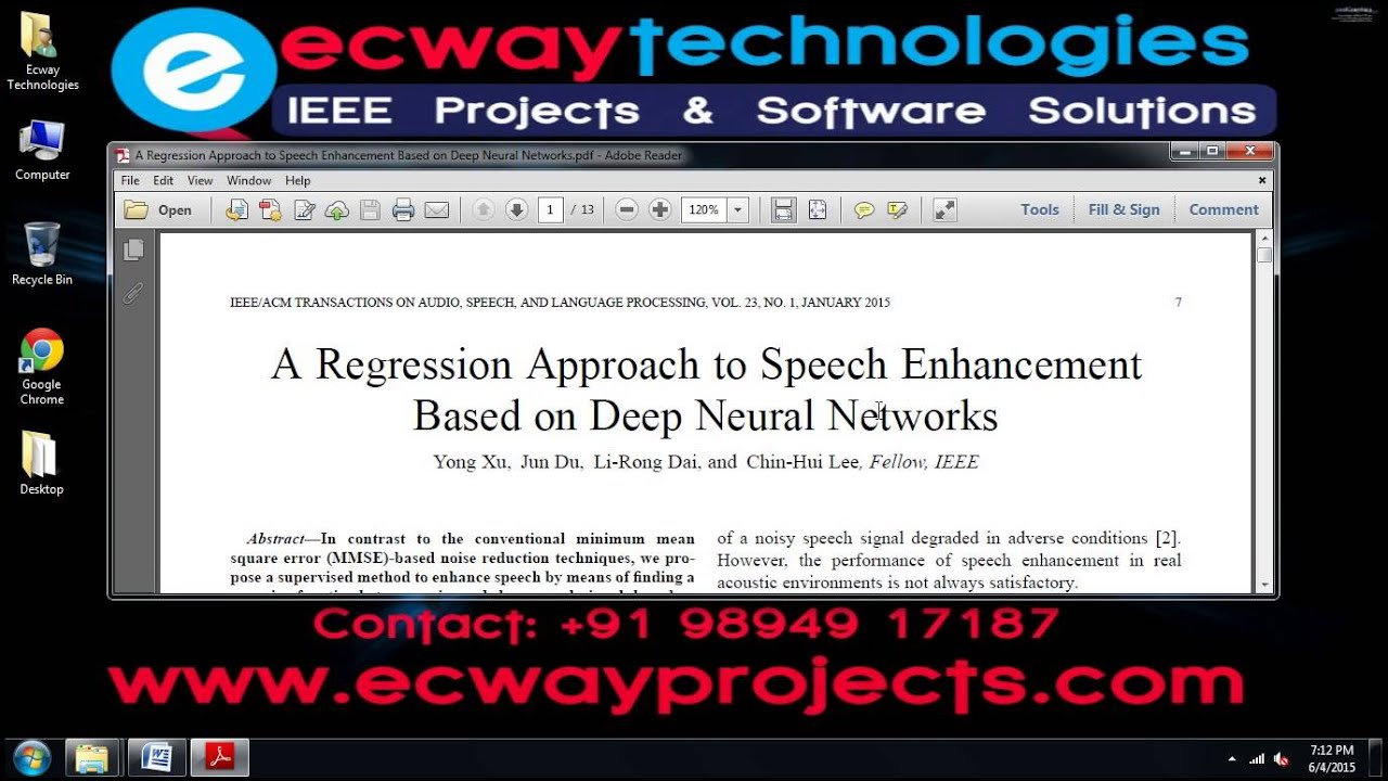 A Regression Approach to Speech Enhancement Based on Deep Neural Networks