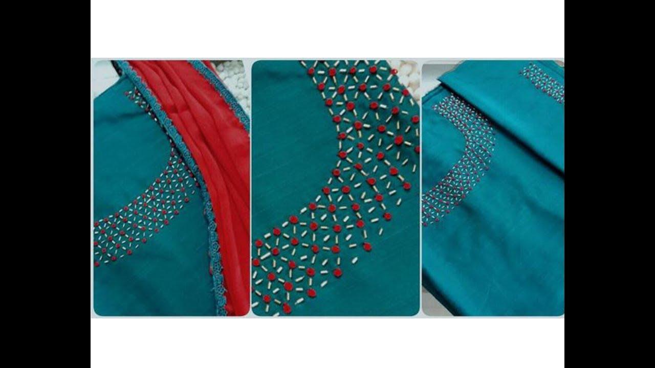 Gold Pipes Bead French Knot Neck Design Churidar Kurti Aari Maggam
