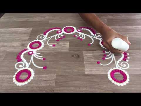 simple and easy  flower border rangoli design for bahubeej diwali by Gauri || border rangoli design
