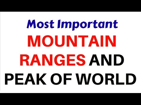 Most Important MOUNTAIN RANGES and PEAKS of WORLD  for ALL EXAMS