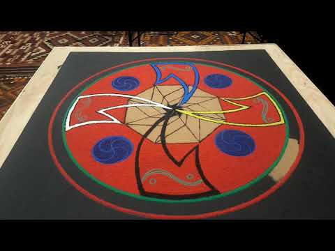Navajo Sand Painting Of Four Sacred Mountains By Rachelle Pablo