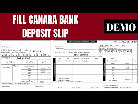 canara bank deposit form  How To Fill Canara bank deposit Form/Slip - YouTube