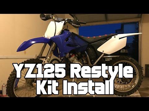 2003 YZ125 UFO Restyle Plastic Kit Install - YouTube