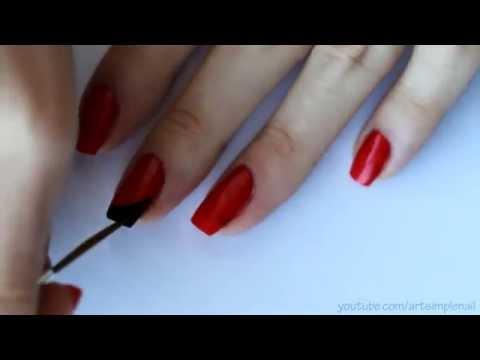 Угловой френч Маникюр в черно красных тонах   Nail Tutorial  French Manicure
