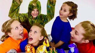 Learn English Colors! Rainbow Dinosaurs with Sign Post Kids!