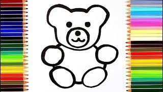 как нарисовать мишку  /  мультик раскраска медведь для детей  / учим цвета