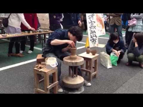 """ひかるの蹴轆轤1 Pottery making with a kick wheel. His name is """" Hikaru """"."""