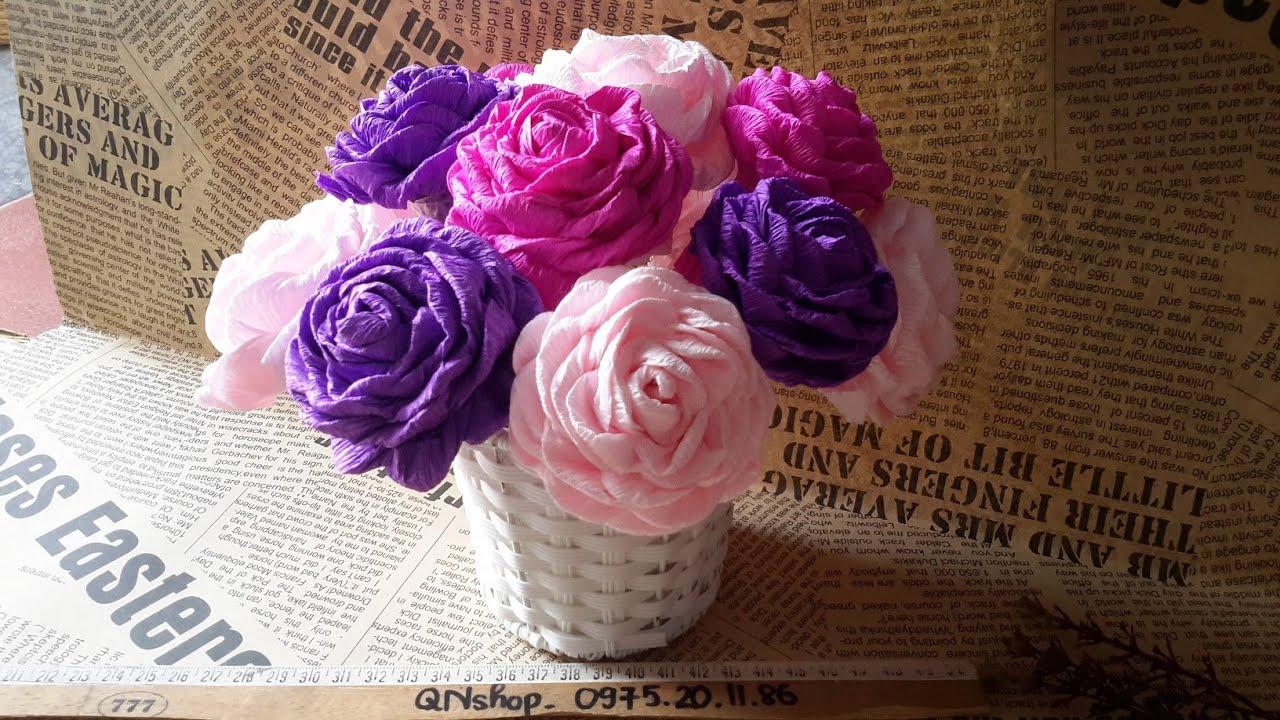 Video 18: Hướng dẫn làm hoa hồng bằng giấy nhún kiểu xoắn