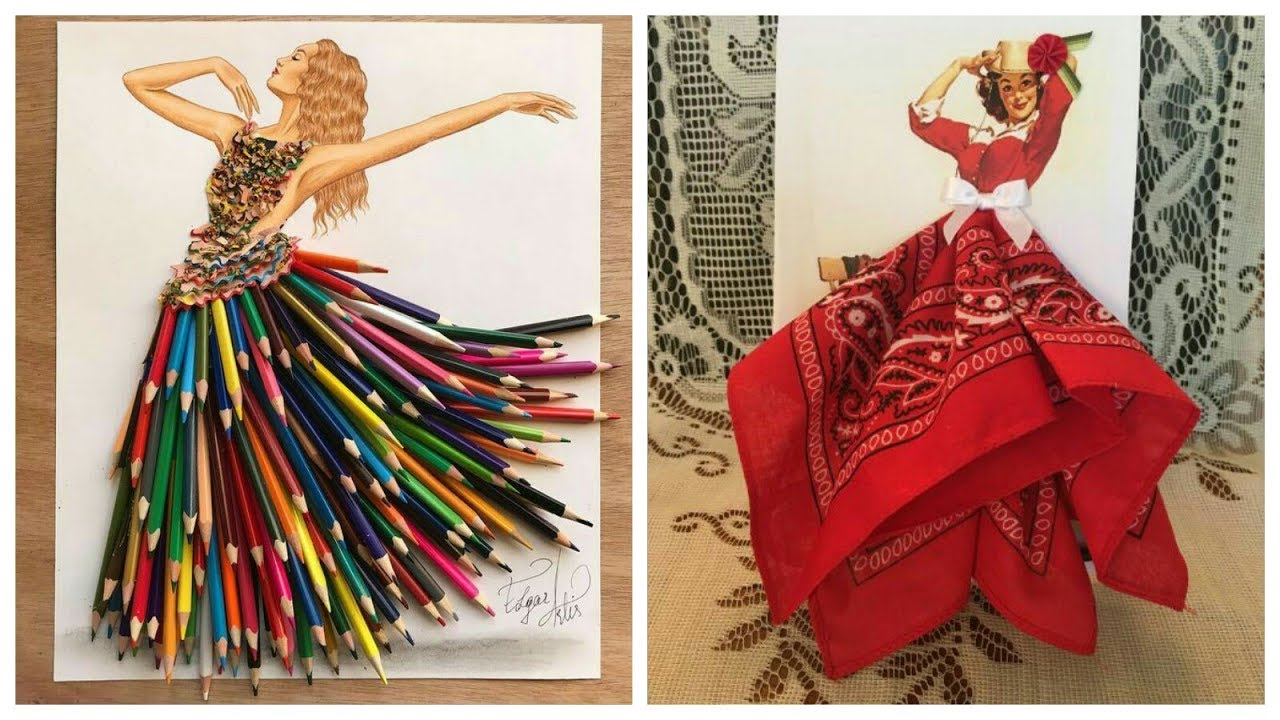 Girls Sketches Creative Fashion Design With Everyday Objects Youtube