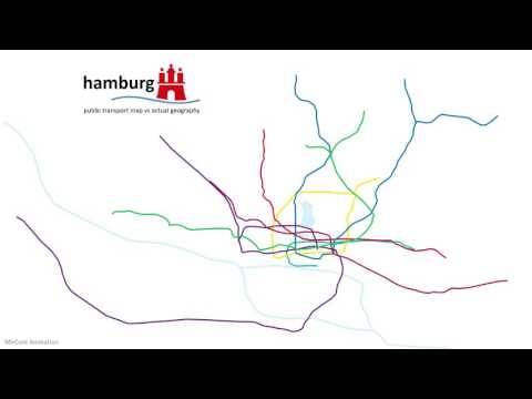 Hamburg public transport map vs real geography