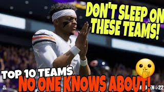 BEST TEAMS NO ONE KNOWS ABOUT🤫! Top 10 Sleeper Teams in Madden 22 CFM Franchise Mode & Regs Gameplay