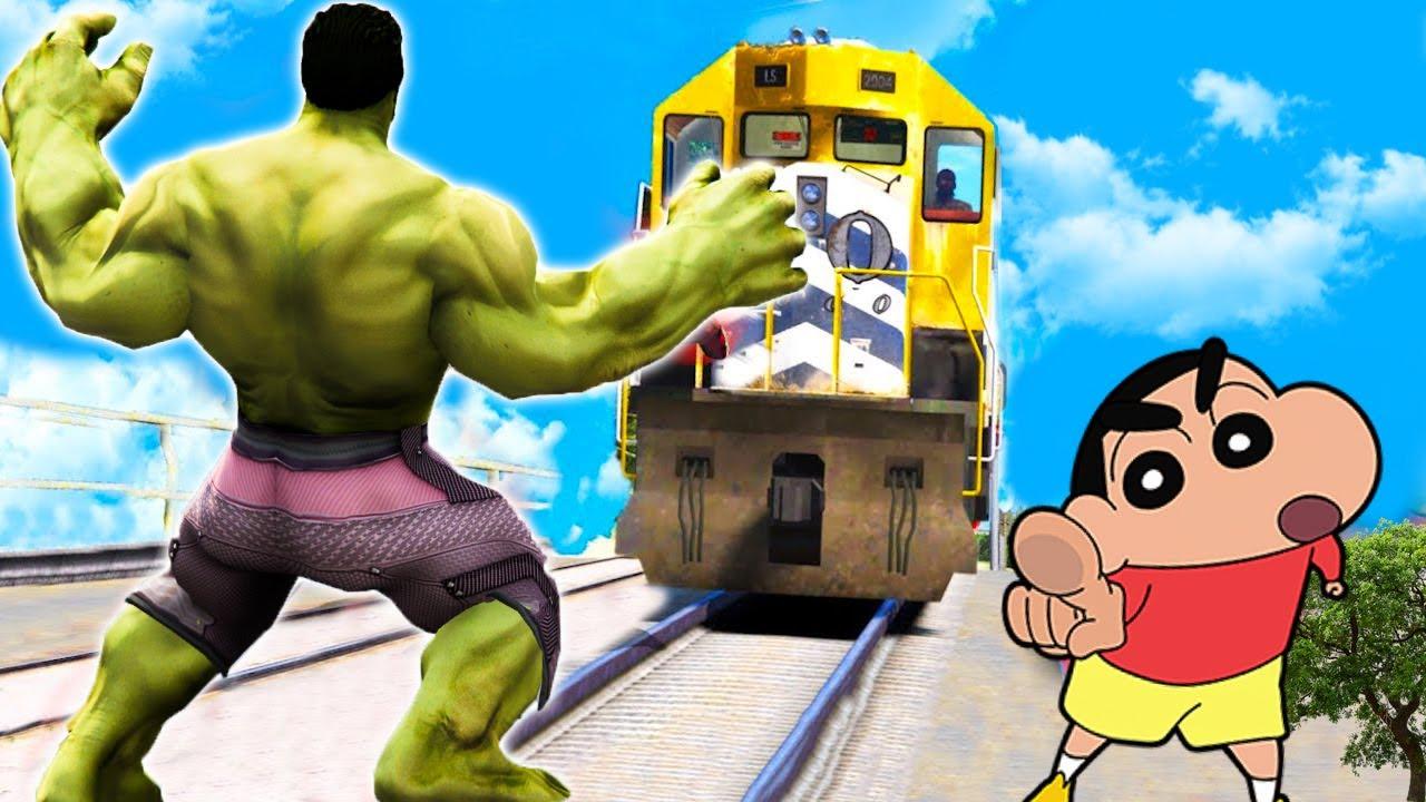 GTA 5 - Can You STOP THE TRAIN As MEGA RED HULK? || (GTA 5 mods)
